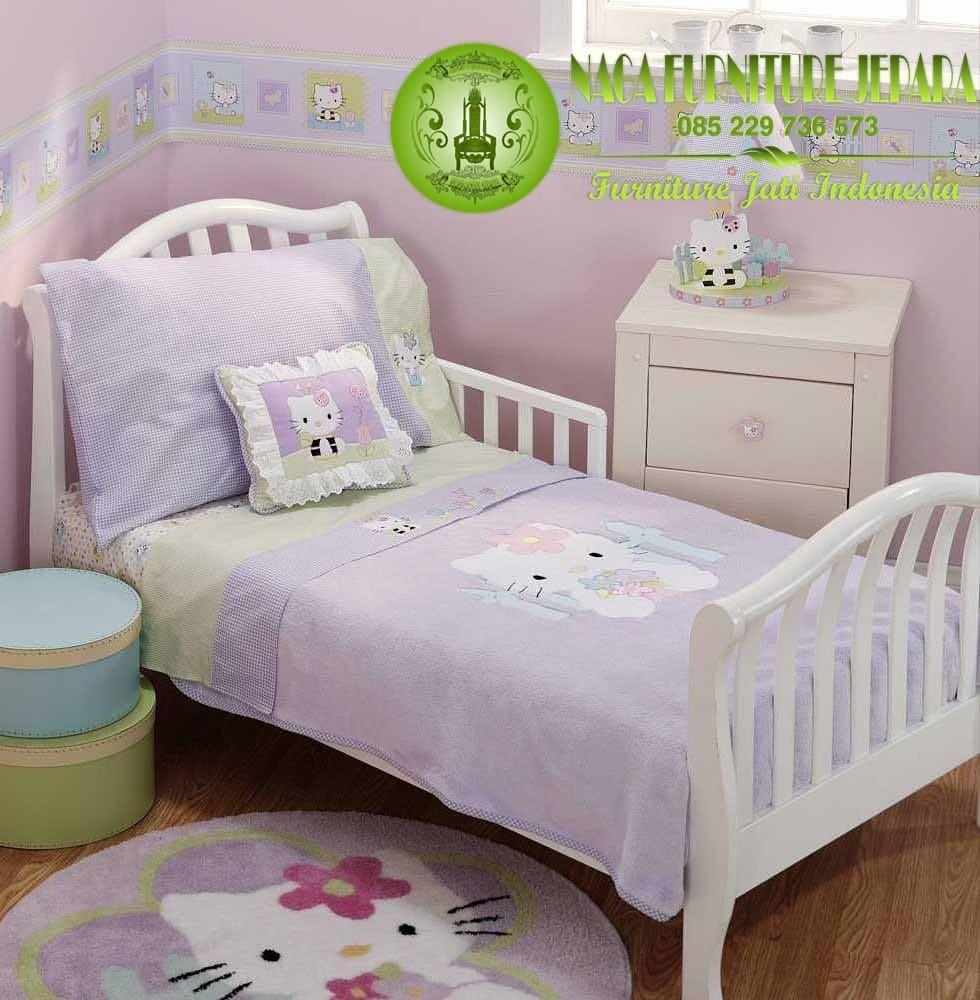 tempat tidur anak karakter hello kitty set kamar perempuan