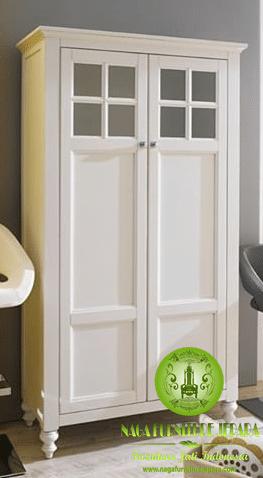 lemari pakaian minimalis duco putih pintu 2