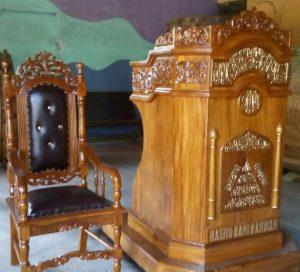 foto gambar set kursi mimbar masjid