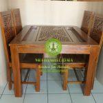 gambar meja makan motif ukir bunga kursi 4 harga murah