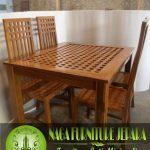 meja makan kayu jati minimalis 4 kursi jari jari termurah