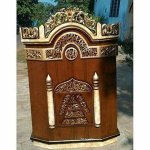 20 Jual Mimbar Masjid Jati Podium Minimalis Ukiran Kaligrafi Jepara
