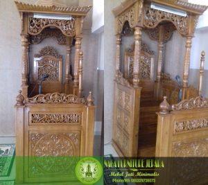 Mimbar Masjid Kubah Ukir Kaligrafi Arab Jati Jepara