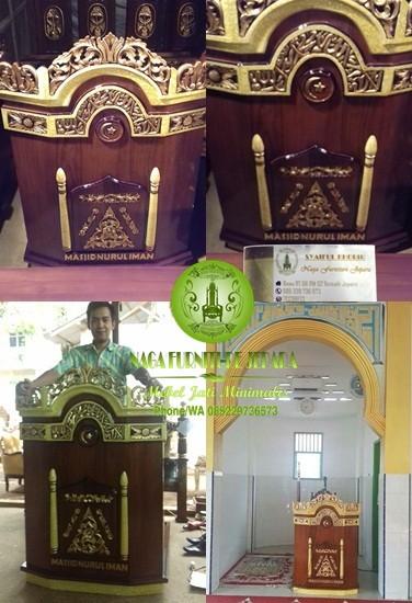 Mimbar Masjid Minimalis Harga Murah Ukir Kayu Jati Sederhana