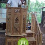 mimbar masjid sesuai sunnah tingkat minimalis ukir jepara
