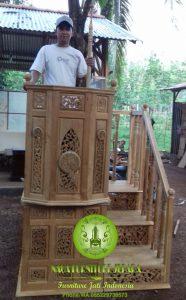 masjid mimbar sesuai sunnah tingkat minimalis ukir jepara