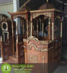 mimbar podium masjid kubah harga murah jati kaligrafi arab pidato