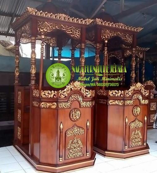 mimbar podium masjid kubah harga murah jati kaligrafi arab