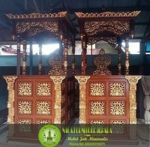 mimbar podium masjid ukir gebyok jati