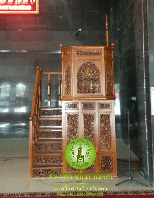 model mimbar masjid malaysia tingkat mewah ukir jepara