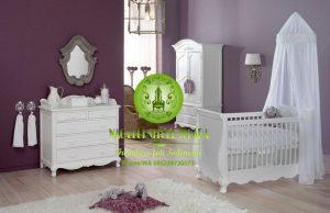 Set kamar tidur anak box bayi kayu warna putih terbaru