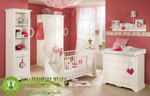 Set kamar tidur anak minimalis box bayi kayu warna putih terbaru