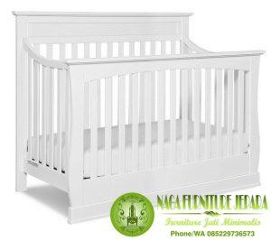 Tempat tidur bayi kayu warna putih terbaru harga 1 jutaan