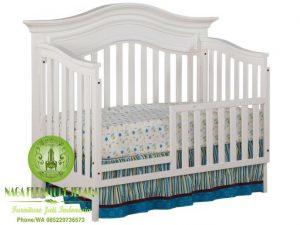 gambar Box bayi kayu warna putih harga termurah