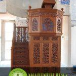 Mimbar Masjid Tingkat Ukiran Jati Mewah Anak Tangga