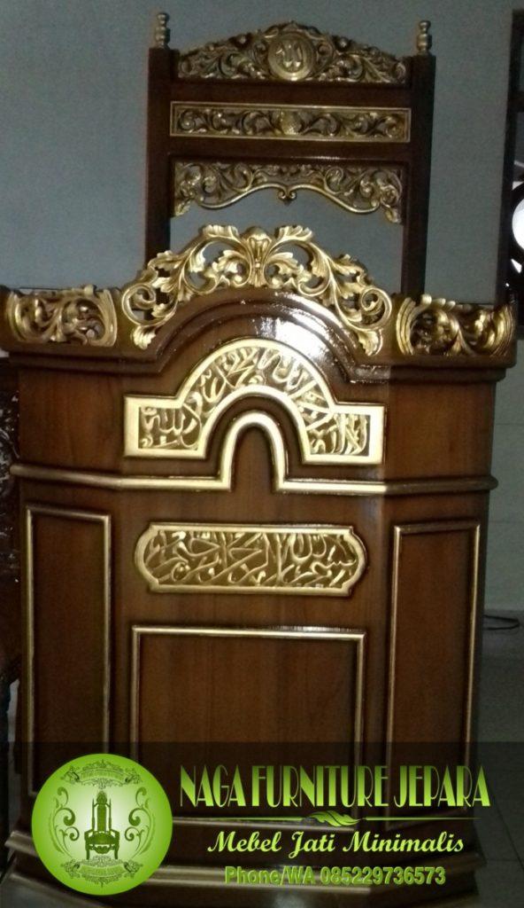 gambar Mimbar podium kayu Jati kaligrafi ukir emas
