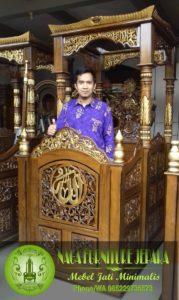 contoh gambar Mimbar masjid madinah kayu jati Jepara