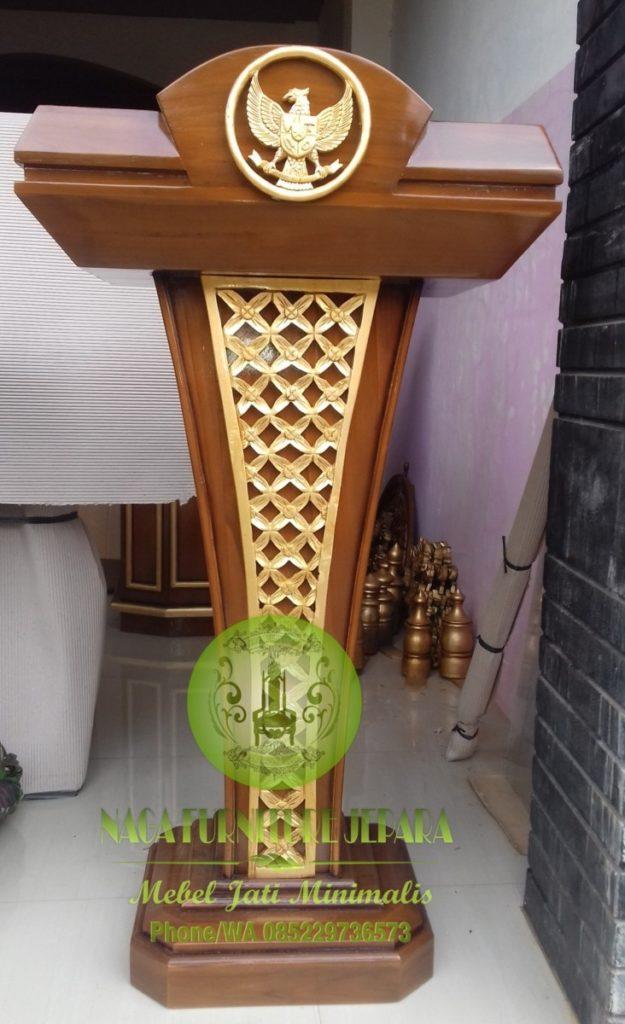 gambar Mimbar podium kepresidenan pancasila kayu jati