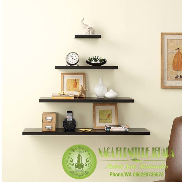 Floating Wall Shelf Warna Hitam Putih