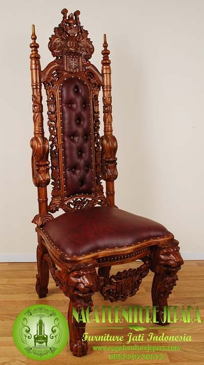 harga kursi raja jati natural antik singa tanpa tangan mimbar masjid