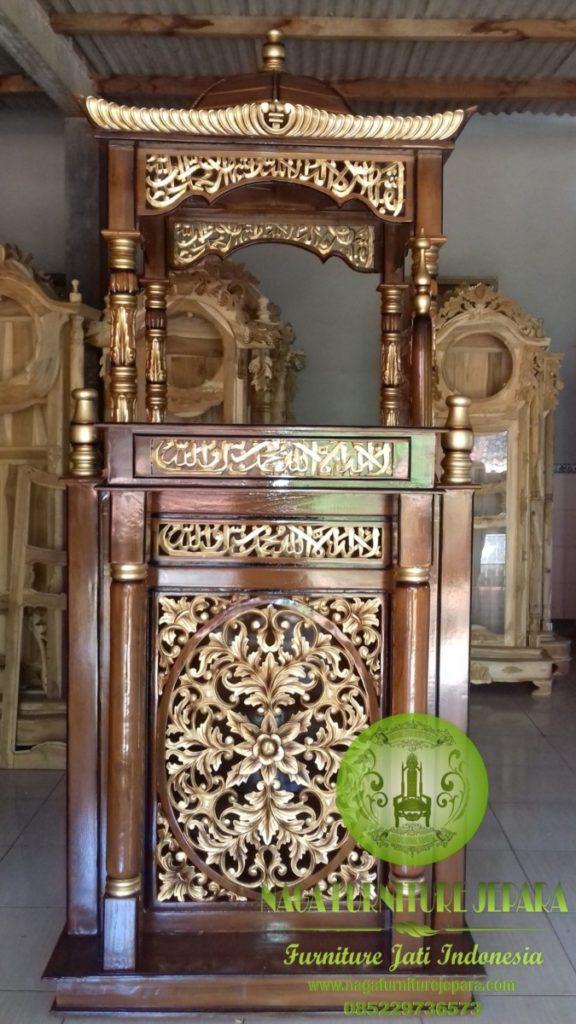 Contoh foto mimbar masjid ukir jati kubah warna emas mewah