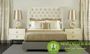 tempat tidur minimalis sandaran jok putih elegant modern