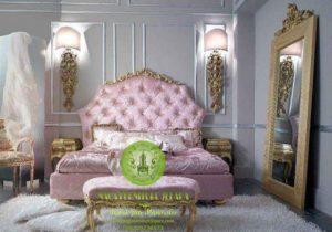 tempat tidur modern jok busa pink emas mewah