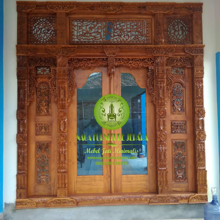 Harga Gebyok pintu Kaca ukir Allah Muhammad Jati modern