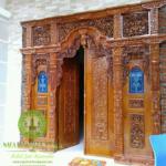 pintu gebyok motif ukir bunga jati mewah
