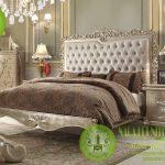 Set Tempat Tidur Mewah Minimalis Klasik Luxury Jok Busa abu