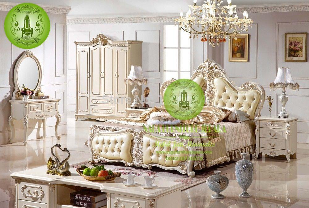 tempat tidur mewah Set Warna Putih Elegan harga murah
